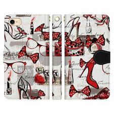 XperiaXZ1CompactSO-02K用スマホケース手帳型メガネヒール香水口紅パフューム唇口唇kissマークlipルージュかわいいきれいおしゃれギフトグッズ