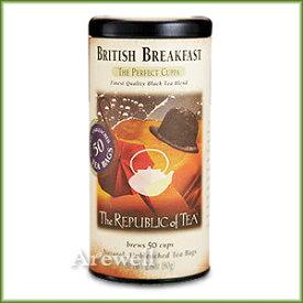 厳選茶葉を使用したトラディショナルな英国風ブレンドコクのある風味でミルクティーにも♪【The Republic of Tea/リパブリックオブティー】ブリティッシュブレックファーストティー(紅茶) 50無漂白ティーバッグ