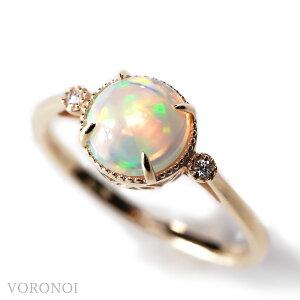 K10 エチオピア産 オパール 約7mm 10月 誕生石 ダイヤモンド うるうる 揺れる MINAMO カボション リング 10金 YG/WG新商品 ブランド VORONOI ボロノイ ホワイトデー お返し