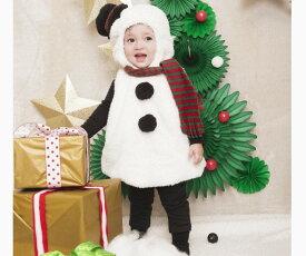 【ベビー】マシュマロスノーマン【カバーオール】【ベイビー】【ロンパース】【クリスマス】【スノーマン】【サンタクロース】【パーティ】【コスプレ】【衣装】【コスチューム】【かわいい】
