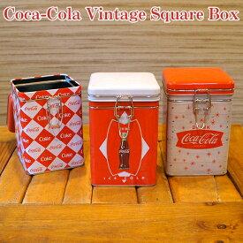 コカ・コーラ ヴィンテージ スクエア ボックス【全3種】容器 入れ物 ケース 収納 小箱 ロック レトロ アメリカン 雑貨 グッズ Coca-Cola Tin Box,Vintage Square Lock【ポイント】