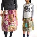 【メール便】オールドバティックパッチワークのミディアムスカート ろうけつ染め バティック古布 パッチワーク バリ島買い付け