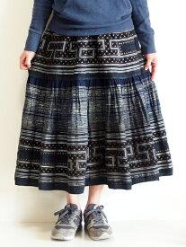 モン族スカート ロングスカート モン族手刺繍 クロスステッチ 藍染 ろうけつ染め