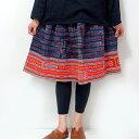 モン族スカート ミディアム丈 モン族手刺繍 クロスステッチ 藍染 ろうけつ染め ミャオ族