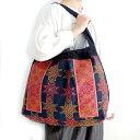 モン族 バッグ モン族手刺繍ショルダーバッグ Cモン族の民族衣装をリメイクした一点ものバッグ