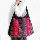 モン族 バッグ モン族(ミャオ族)手刺繍ショルダーバッグ Dモン族の民族衣装をリメイクした一点ものバッグ