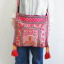 モン族 フリンジショルダーバッグ モン族 ミャオ族 苗族 民族衣装 手刺繍 ししゅう 1点もの