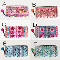 モン族手刺繍長財布モン族の素敵な手刺繍布を裏表とも、全面に使った長財布ウォレットポーチカード入れ1点もの