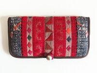 モン族手刺繍長財布ミャオ族藍染アップリケ