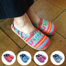 モン族刺繍サボ サンダル クロスステッチ 藍染め 手刺繍