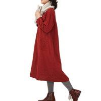 ダブルガーゼおくりもの刺繍ワンピースレッドブラックマスタードコットン100%ナチュラルテイスト[シサム工房][フェアトレード]