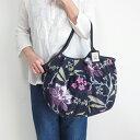 sisi グラニーバッグ 120%ビッグサイズ ブロックプリント 新大花 ブラックsisバッグ ブロックプリント 布バッグ ショルダーバッグ