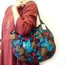 【メール便可】sisiグラニーバッグ120%ビッグサイズボタニカルブルー南国の夜を思わせる葉っぱ柄のバリ島sisiのバッグ布バッグショルダーバッグ