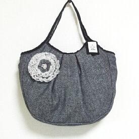 sisi グラニーバッグ 120%ビッグサイズ コサージュバッグ ブラック sisiバッグ A4が入る布バッグ