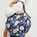sisiグラニーバッグ120%ビッグサイズレーヨン草花柄ネイビーsisiバッグA4サイズが入る布バッグショルダーバッグ
