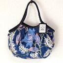 【メール便可】sisi ミニグラニーバッグ ブロックプリント 大花 ネイビーバッグインバッグやちょっとそこまでに便利な布バッグ sisiバ…