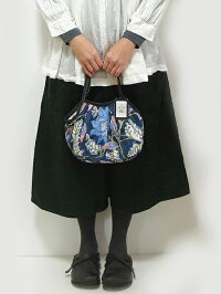 【メール便可】sisiミニグラニーバッグブロックプリント大花ネイビーバッグインバッグやちょっとそこまでに便利な布バッグsisiバッグ