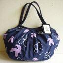 sisi ミニグラニーバッグ 鳥と花 ネイビーバッグインバッグやちょっとそこまでに便利な布バッグ sisiバッグ
