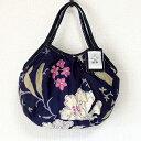 【メール便可】sisi ミニグラニーバッグ ブロックプリント 新大花 ネイビーバッグインバッグ ちょっとそこまで布バッグ sisiバッグ