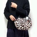 【メール便可】sisiミニグラニーバッグフェイクファーレオパードホワイト豹柄アニマル柄ヒョウ柄エコファーバッグインバッグちょっとそこまで布バッグsisiバッグ