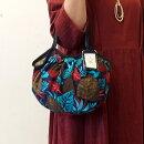 【メール便可】sisiミニグラニーバッグボタニカルブルーバッグインバッグやちょっとそこまでに便利な布バッグsisiバッグ