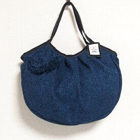 sisiグラニーバッグ 定番サイズ コサージュバッグ ブルー sisiバッグ 布バッグ ショルダーバッグ