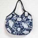 sisiグラニーバッグ定番サイズレーヨン草花柄ネイビーsisiバッグ布バッグショルダーバッグ