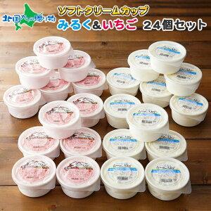 くりーむ童話 北海道 ソフトクリーム アイス 24個セット 2種 手作り アイスクリーム 専門店 てづくり ミルク いちご みるく イチゴ 苺 アイスミルク 牛乳 セット プチギフト お菓子 お取り寄