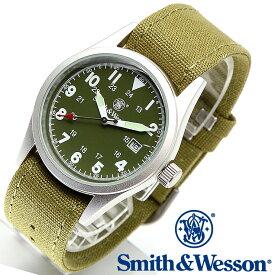スミス&ウェッソン Smith & Wesson 正規品 ミリタリーウォッチ 腕時計 メンズ MILITARY WATCH OLIVE DRAB SWW-1464-OD デイトカレンダー 日付 キャンバスベルト 付け替えベルト付き 男性用 時計 オリーブドラブ 送料無料 あす楽