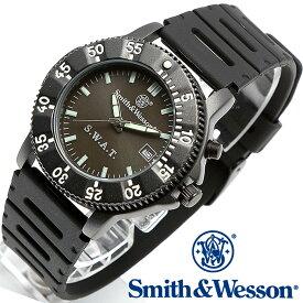 スミス&ウェッソン Smith & Wesson 正規品 ミリタリーウォッチ 腕時計 メンズ POLICE SERIES SWAT WATCH BLACK SWW-45 ポリスシリーズ ダイバーズ ダイバー デイトカレンダー 日付 ウレタンベルト 雑誌掲載 男性用 時計