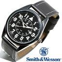 スミス&ウェッソン Smith & Wesson 正規品 ミリタリーウォッチ 腕時計 メンズ CIVILIAN WATCH BLACK SWW-6063 デイトカレンダー 日付 レザーベルト 雑誌掲載ブランド 男性用 時計 ブラック 黒 送料無料 あす楽