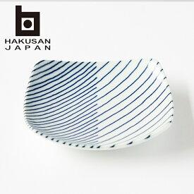 白山陶器 重ね縞 反角小皿 プレート 【 おしゃれ 和食器 HAKUSAN 】