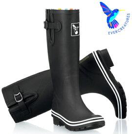 レインブーツ 長靴 ブラック Evercreatures エバークリエイチャー レディース 黒 無地 UKデザイン 女性用 新生活 新居 引越し祝い 新築