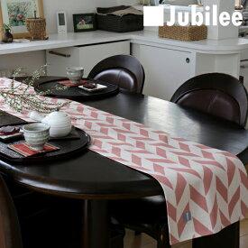テーブルランナー 北欧 ピンクオフホワイトフェザー Jubilee 英国デザイン 183×30 ハンドメイド 麻 リネン 撥水 新生活 新居 引越し祝い 新築
