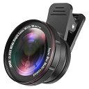 AMIR スマホ用カメラレンズ クリップ式レンズ セルカレンズ 2in1 15倍マクロレンズ 0.45倍広角レンズ 自撮りレンズ fo…