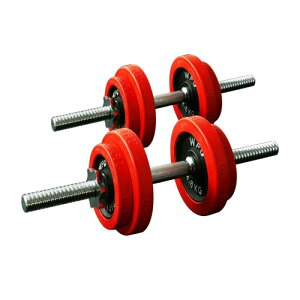 【送料無料】赤ラバーダンベルセット 20kg (片手10kg×2個セット)[WILD FIT ワイルドフィット] 送料無料 筋トレ ダンベル ウエイト トレーニング 鉄アレイ フィットネス