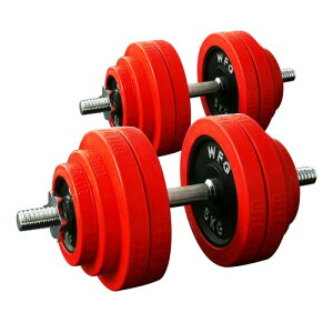 [WILD FIT ワイルドフィット] 赤ラバーダンベルセット 60kg (片手30kg×2個セット)送料無料 筋トレ トレーニング 鉄アレイ フィットネス