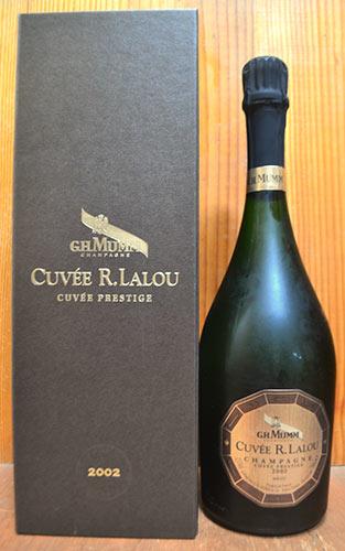 【8月18日以降の出荷】【豪華ギフト箱入】マム シャンパーニュ キュヴェ R(ルネ) ラルー プレステージ ブリュット ミレジム 2002 ギフト 箱付 正規 泡 白 シャンパン ワイン 辛口 750mlG.H. Mumm Cuvee R. Lalou Champagne Cuvee Prestige Millesime [2002]