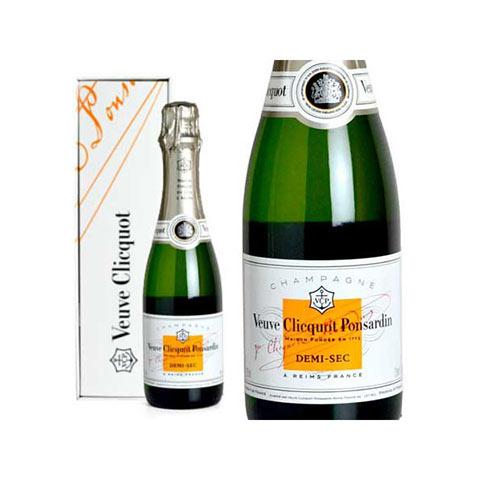 ヴーヴ クリコ (ヴーヴクリコ) 白 泡 ホワイト ラベル ドゥミ セック 正規 箱付 ハーフ 375ml シャンパン シャンパーニュ (ヴーヴ・クリコ) (ヴーヴクリコ) (ブーブクリコ)Veuve Clicquot Ponsardin demi Sec AOC Champagne Gift Box (Half Size)