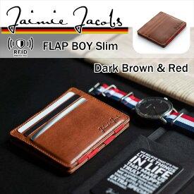 薄い 財布 二つ折り メンズ ダークブラウン( Jaimie Jacobs ) Flap Boy Slim スキミング防止 本革イタリアンレザー ブランド コンパクト財布 ミニ財布 小さい財布 RFID 革 レザー セカンドウォレット 休日 二つ目 ミニマル