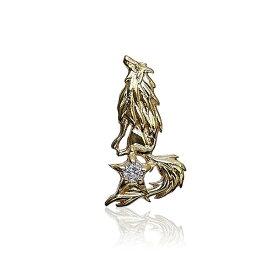 レディース ウィメンズ 女性 アクセサリー シルバー プレゼント ギフト フォーマル 10K Y ゴールド クライングウルフピアス レディース ユニセックス狼 ウルフマン ウルフマンbrs