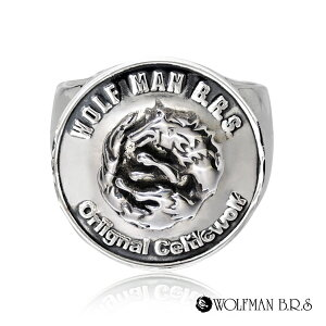 リング 指輪 狼 ウルフマンBRS シルバー925 アクセサリー メンズ ムーンウルフ 月 ムーン 狼 ウルフ コイン お金 マネー コインリング 19号 21号 23号 ムーンウルフコインリング