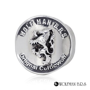 リング 指輪 狼 ウルフマンBRS シルバー925 アクセサリー メンズ 狼 ウルフ コイン お金 マネー コインリング 19号 21号 23号 ブラザーウルフコインリング