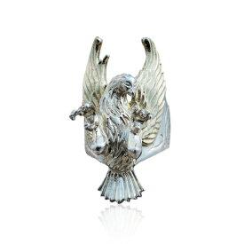 リング 指輪 狼 ウルフマンBRS シルバー925 アクセサリー メンズ 鷲 鷹 翼 鉤爪 かぎ爪 爪 いかつい フェザー 羽 17号 19号 21号 23号 プレイヤーフェザーシング ゴールド