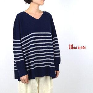 maomade(マオメイド)Vネックボーダーニット941116