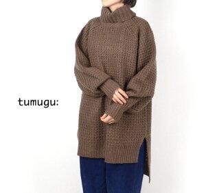 tumugu(ツムグ)ウールエアーヤーンタートルネックニットチュニックTK19414