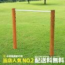 【一連】 木製 鉄棒 (小) カーキスチールバー 防腐加工処理済