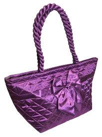 【送料無料】NaRaYa ナラヤ NBS52-BL サテンバッグ レディース リボンバッグ トートバッグ ショルダーバッグレディース 女性 婦人 ミニトートバッグ かわいい おしゃれ CA御用達 紫 パープル