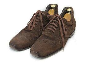【中古】【送料無料】Doucal's (デュカルス)39 (24.5cm〜25.0cm) イタリア製・スエードスニーカー/ウイングチップメンズシューズ 紳士 靴 ビジネス カジュアル メンテナンス済