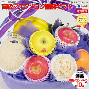[ご進物用/秀品] 高級マスクメロン籠盛ギフト4 パイン・りんごなど詰め合わせ【あす楽対応/のし対応】[御中元、お中元、お盆、プレゼント、誕生日、ギフト、贈り物、お祝い、内祝い、出
